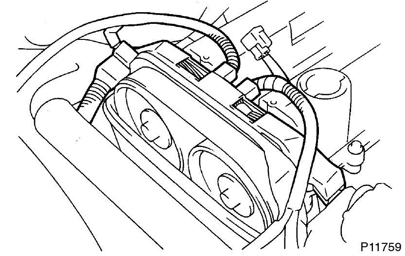 disconnect the engine wire from the 4 wire clamps